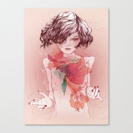 Dark lady with georges hair  Canvas Print
