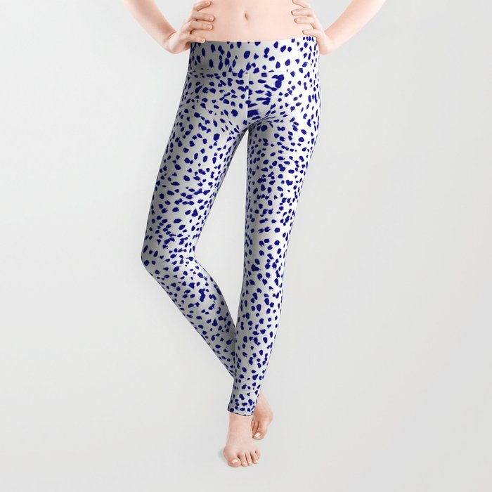 Vonnie - abstract minimal indigo blue dalmatian dots brushstrokes animal print monochromatic print Leggings