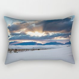 One More Moment - Sunbeams Burst From Clouds Over White Sands New Mexico Rectangular Pillow