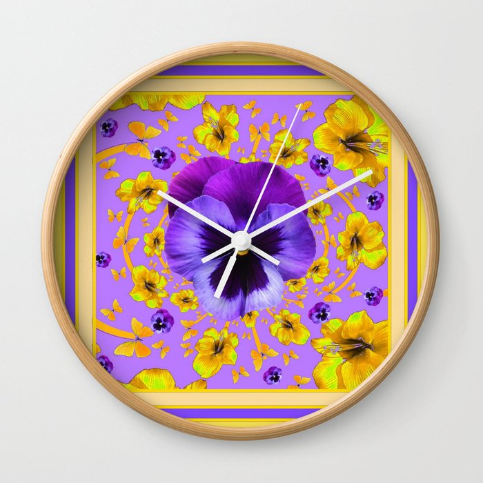PANSIES YELLOW BUTTERFLIES & FLOWERS GARDEN Wall Clock