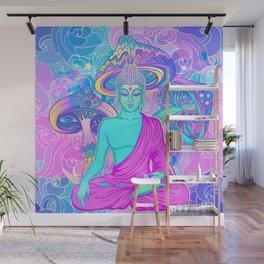 Sitting Buddha among psychedelic Mushrooms Wall Mural