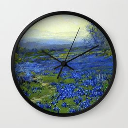 Meadow of Wild Blue Irises, Springtime by Maria Oakey Dewing Wall Clock