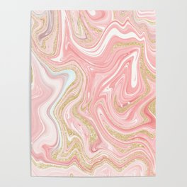 Modern pink coral marble gold glitter pattern Poster