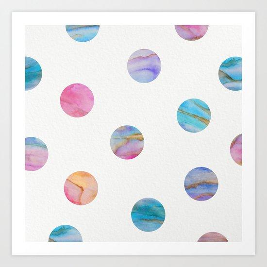 Marble Polka Dots Art Print