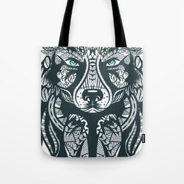 Wolf Head Tribal Illustration Tote Bag