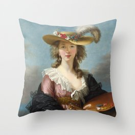 Self Portrait in a Straw Hat, Elisabeth Louise Vigee Le Brun, 1782 Throw Pillow