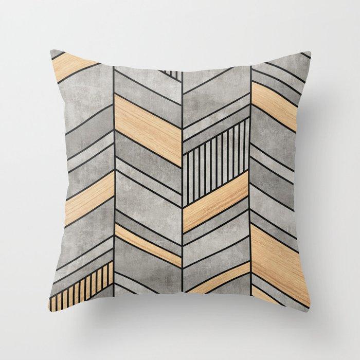 Abstract Chevron Pattern - Concrete and Wood Deko-Kissen