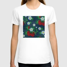 Strawberries and Daisies - Strawberry Patch  - Fruit T-shirt
