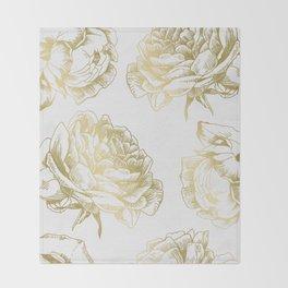 Gold Roses Throw Blanket