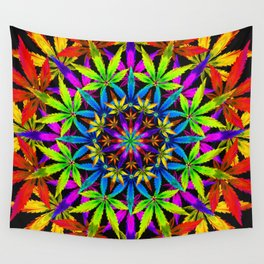 Stoners' Mandala Cannabis Leaves Wall Tapestry