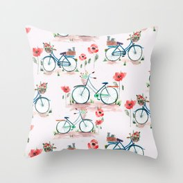 watercolor vintage bike, floral bicycle, summer bike ride Throw Pillow