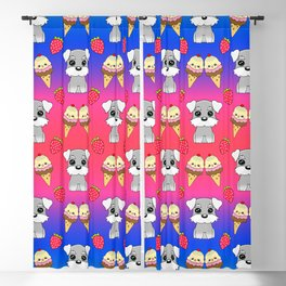 Cute happy funny baby Schnauzer puppy, sweet adorable yummy colorful Kawaii ice cream cones and red summer strawberries cartoon bright pink blue pattern design Blackout Curtain