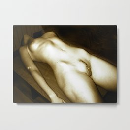 The Body - erotic photography in Midnight Sepia tones, submissive woman naked on table Metal Print