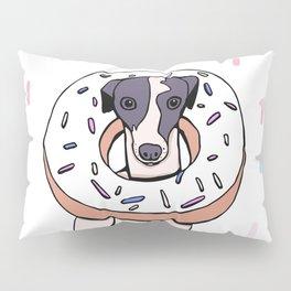 Iggy Dog Wearing a Dougnut - Italian Greyhound Dessert - White Donut with Sprinkles Whippet Pillow Sham