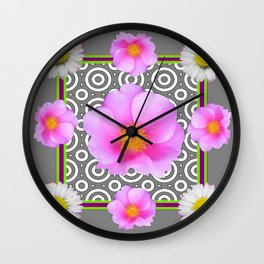 Modern Art Style Shasta Daisy Pink Roses  Grey color Abstract art Wall Clock