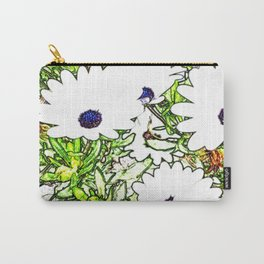Drawing of White Daises Carry-All Pouch