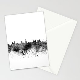 Melbourne skyline in black watercolor on white background Stationery Cards