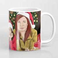 allison argent Mugs featuring Merry Christmas - Argent Family by Finduilas