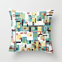 mod Throw Pillows featuring Mod by Tina Carroll