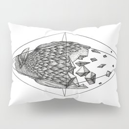 Geometric Crow in a diamond (tattoo style - black and white version) Pillow Sham