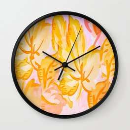 Soft Painterly Pastel Autumn Leaves Wall Clock