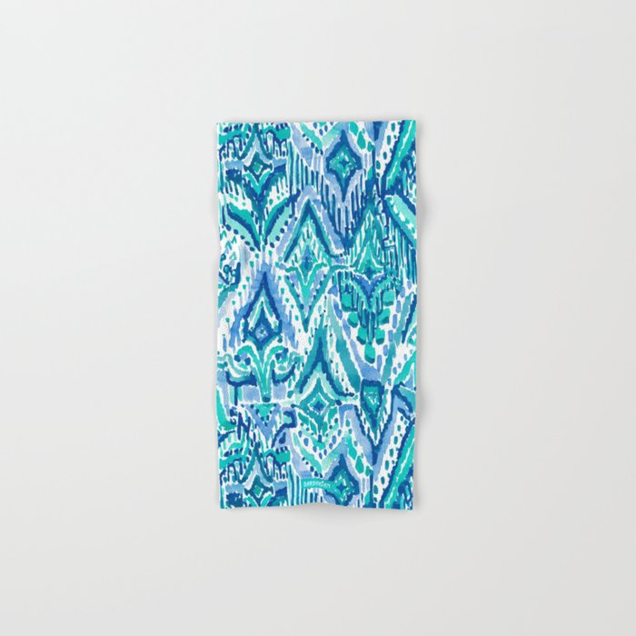 AQUA FRINGE TRIBAL Ikat Watercolor Hand & Bath Towel