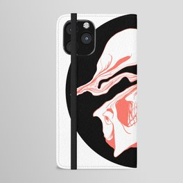 Liquify Skull in black and living coral iPhone Wallet Case