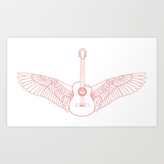 Flying Guitar. Art Print