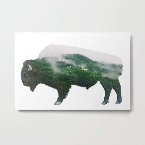 Bison double exposure Metal Print