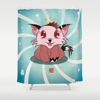 anime Shower Curtains featuring Anime Kitty - Hime by MyimagesArt