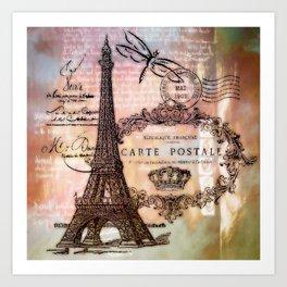 Eiffel tower collage Art Print