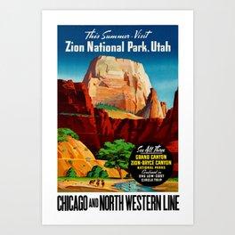 Zion National Park Vintage Poster Art Print