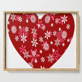 Red Heart Of Snowflakes Loving Winter and Snow Serving Tray