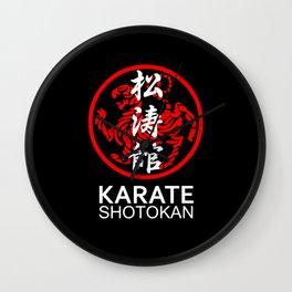 Shotokan Karate Symbol and Kanji white text Wall Clock