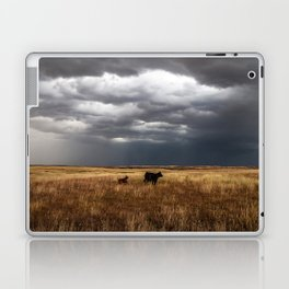 Life on the Plains - Cow Watches Over Playful Calf in Oklahoma Laptop & iPad Skin