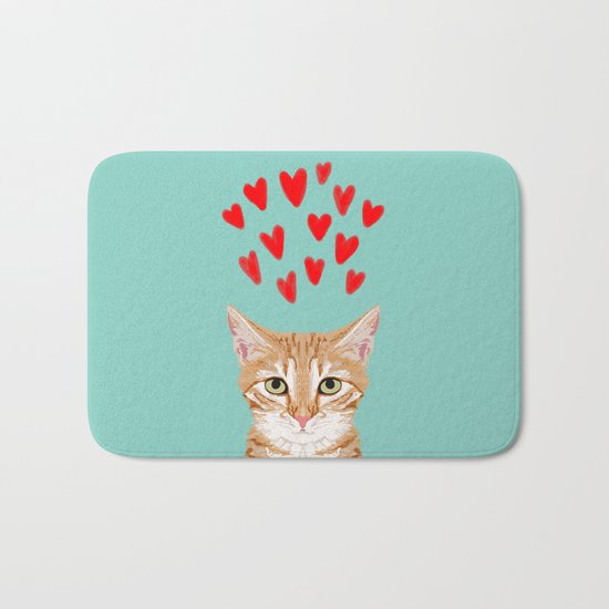 Mackenzie - Orange Tabby Cute Valentines Day Kitten Girly Retro Cat Art cell phone Bath Mat