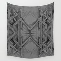 gray pattern Wall Tapestries featuring Emerge - Gray/Black Pattern by MB4 Studio / Melissa Breitenfeldt