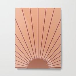 Sun Print Sunrise Sunshine Sun Wall Art Boho Rust Earth Terracotta Mid Century Modern Abstract Decor Metal Print