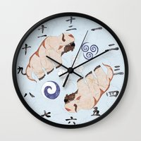 the last airbender Wall Clocks featuring Avatar The Last Airbender Air Clock Face by Art of Sara