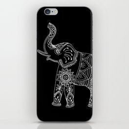 Elephant doodle in black and white. iPhone Skin