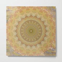 Topaz Gold Sun Marble Mandala Metal Print