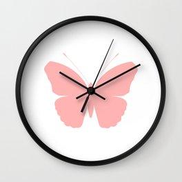 Pink Butterfly Design Wall Clock