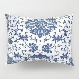 Blue & White Chinoiserie Porcelain Vase with Chrysanthemum Pillow Sham