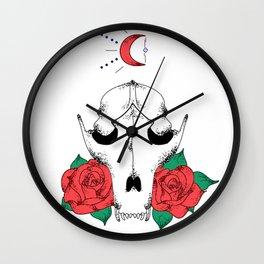 Raccoon Roses Wall Clock