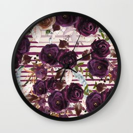Watercolor ivory purple burgundy brown floral stripes Wall Clock