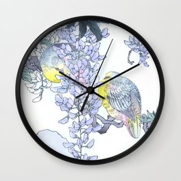 Couple Of Doves Sitting On Wisteria Vine - Antique Japanese Woodblock Print Art By Kono Bairei Wall Clock