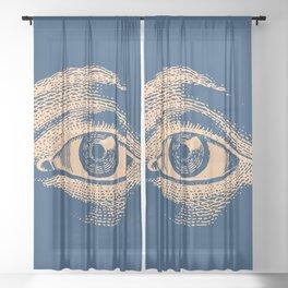 Retro Vintage Blue Eye Pattern Sheer Curtain