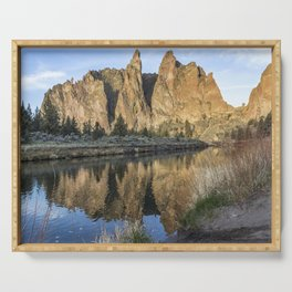 Reflection of Smith Rock in Crooked River Serving Tray