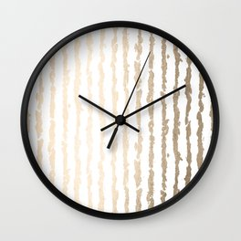 White Gold Sands Vertical Ink Stripes Wall Clock
