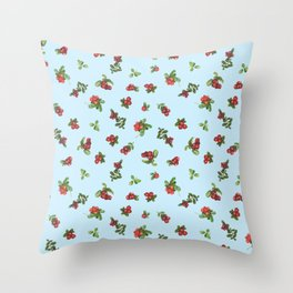 Cranberries blue background Throw Pillow